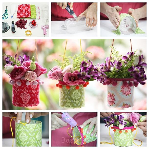 بطری های پلاستیکی گلدان F DIY شگفت انگیز زیبا حلق آویز گلدان از بطری بازیافت
