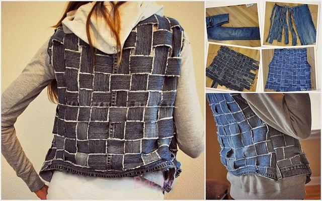 Reuse Old Jeans into a vest Wonderful DIY New Handbag From Old Jeans