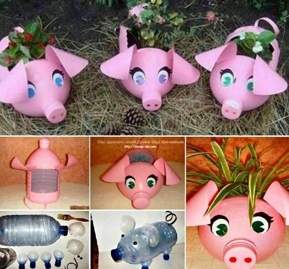 بطری های پلاستیکی Upcycle به این شایستگی Piggy رو کاشت ماشین شگفت انگیز DIY بچه خوک زمینی از بطری های پلاستیکی