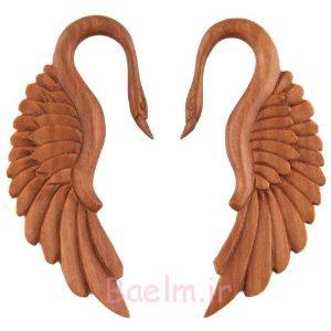 beautiful swan wooden gauge earrings