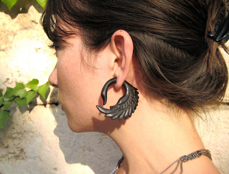 black color swan wooden gauge earrings 2014