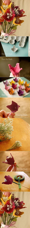 دسته گل تخم مرغ گل cardbox M DIY شگفت انگیز زیبا دسته گل از تخم کارتن