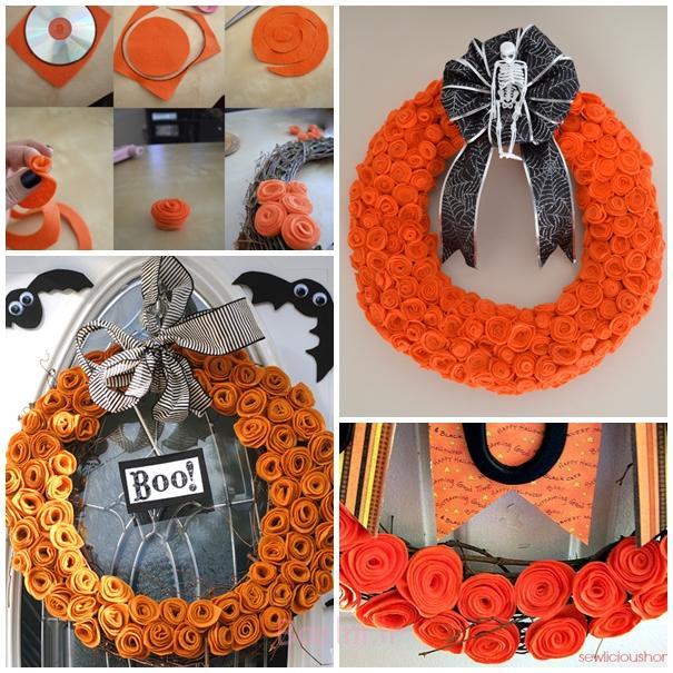 برای هالووین احساس تاج گل برای هالووین F2 DIY شگفت انگیز افزایش یافت فلت گل تاج گل