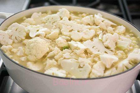 مواد لازم برای سوپ گل کلم و پنیر چدار, پخت سوپ گل کلم و پنیر چدار
