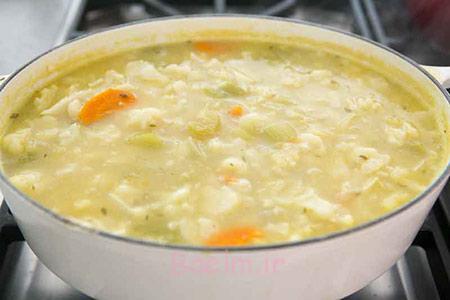 طرز تهیه سوپ گل کلم و پنیر چدار،سوپ گل کلم و پنیر چدار