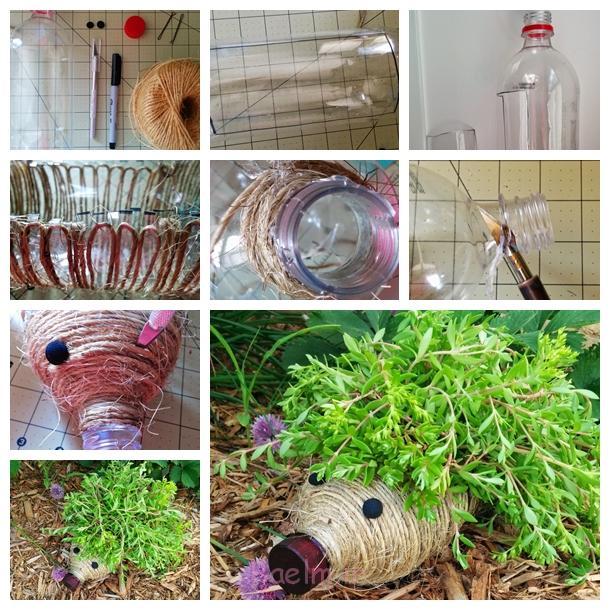 زمینی جوجه تیغی از بطری های پلاستیکی F زیبا DIY خارپشت زمینی ساخته شده از بطری های پلاستیکی