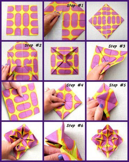آموزش تصویری تزیین دستمال سفره, نحوه تزیین دستمال سفره