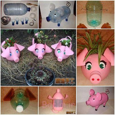 زمینی بچه خوک ساخته شده از بطری های پلاستیکی