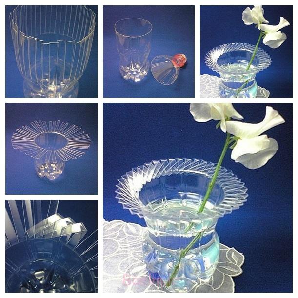 گلدان بطری های پلاستیکی بطری فوق العاده DIY F شگفت انگیز DIY گلدان پلاستیکی بافته شده