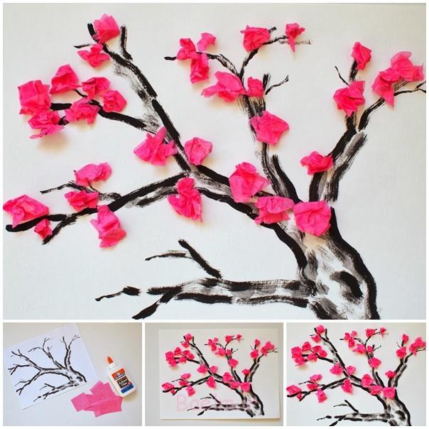 دستمال کاغذی شکوفه های گیلاس گل -wonderfuldiy