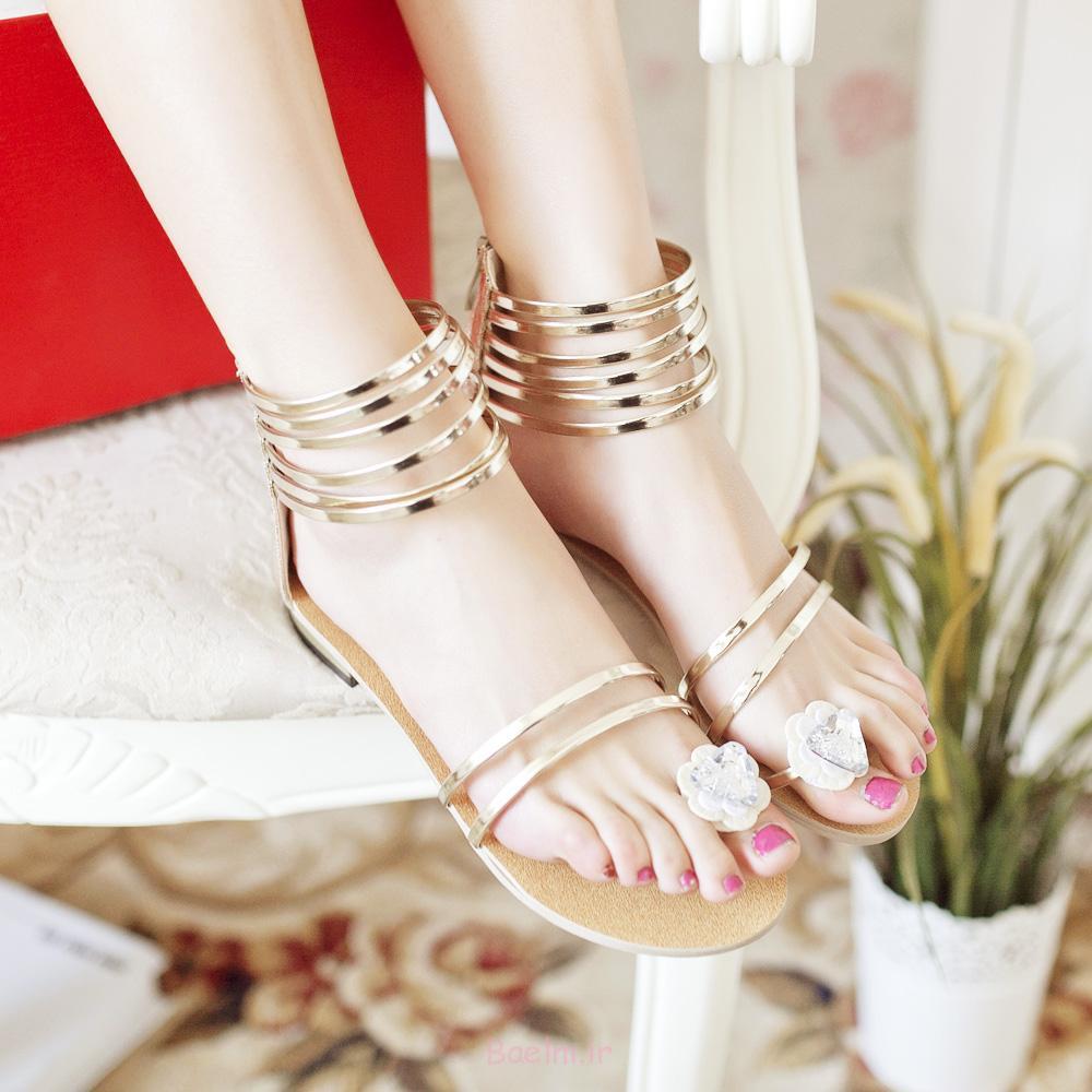 2013-تابستان تخت کفش پاشنه پا-مد براق به رنگ آبی طلایی گل مصنوعی بیرنگ و براق-زنان-S-کفش