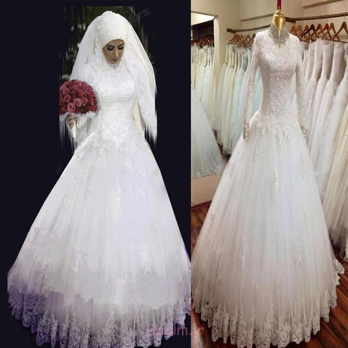 2015 High Neck Long Sleeve Muslim Wedding Dress With Hijab Vestido De Noiva Manga Longa Modern Islamic Wedding Dresses 2015/2016
