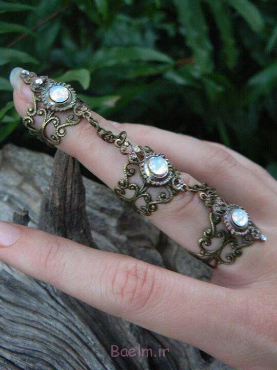 حلقه 9 سنگ مصنوعی بیرنگ و انگشت کامل (8)
