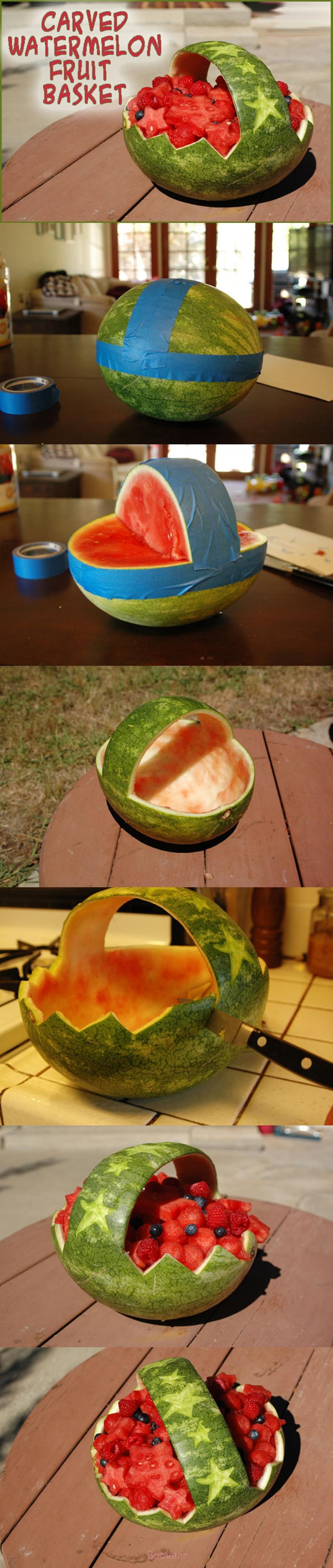 حک شده هندوانه سبد M شگفت انگیز سبد هندوانه DIY