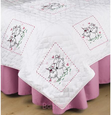 Kissing Sheep Quilt Blocks - Stamped Embroidery Kit