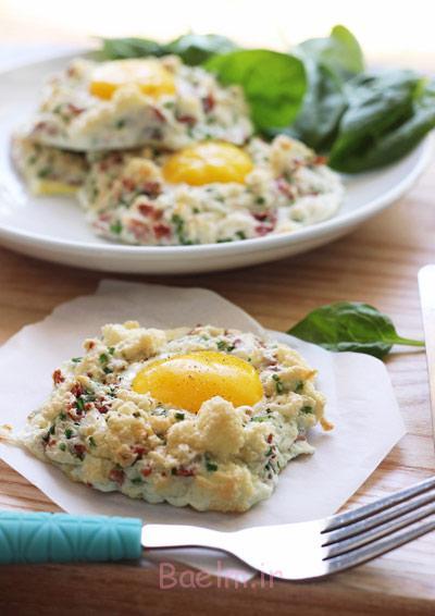 طرز پخت تخم مرغ در ابر,نحوه درست کردن تخم مرغ در ابر