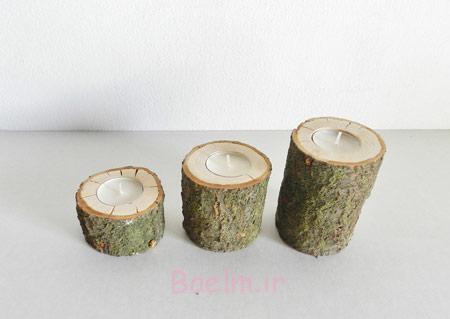 جا شمعی با تنه درخت, مدل شمعدان های چوبی