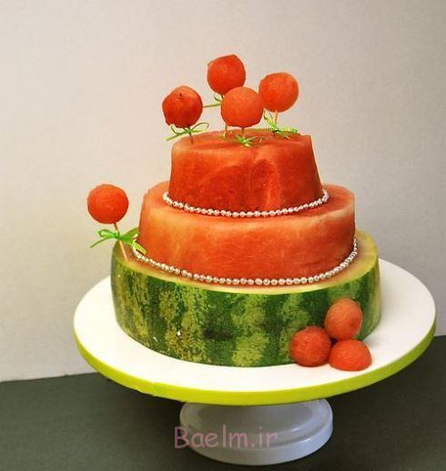 تزیین هندوانه شب یلدا به صورت کیک سفره شب یلدا, تزئینات سفره شب یلدا, چیدمان سفره شب یلدا, تزیین سفره شب یلدا