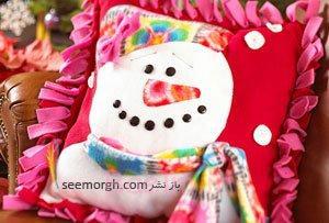 یک کوسن زمستانی زیبا با طرح آدم برفی بدوزید!