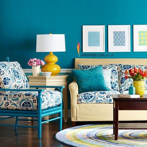 آبی نیلگون+ زرد+ رنگ بژخاکی مایل به خردلی