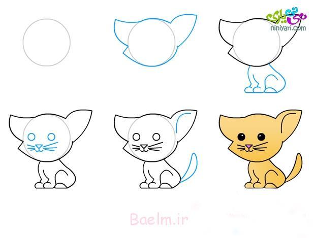 اموزش نقاشی گربه ، نقاشی گربه