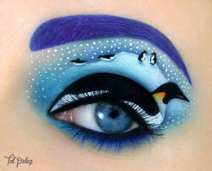 augen schminke maskenbildnerin Tal Peleg mama pinguin