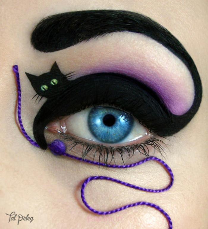 augen schminken maskenbildnerin Tal Peleg katze spielt mit garn