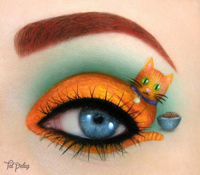 augen schminken maskenbildnerin Tal Peleg orange katze