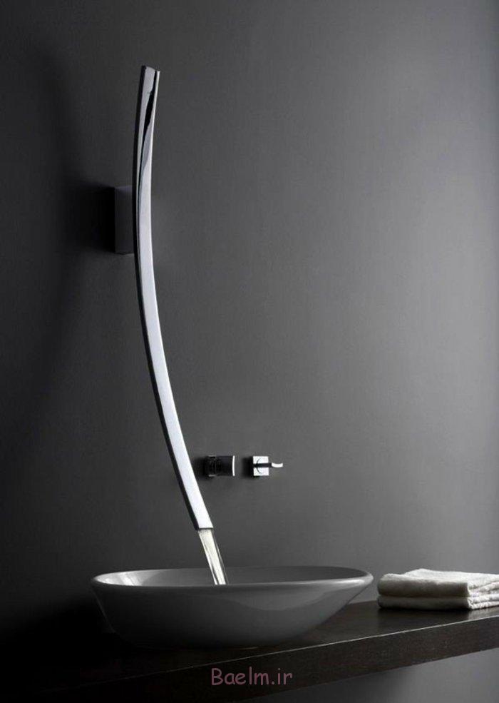 designer waschbecken futuristische keramik grau edelstahl chrom armatur