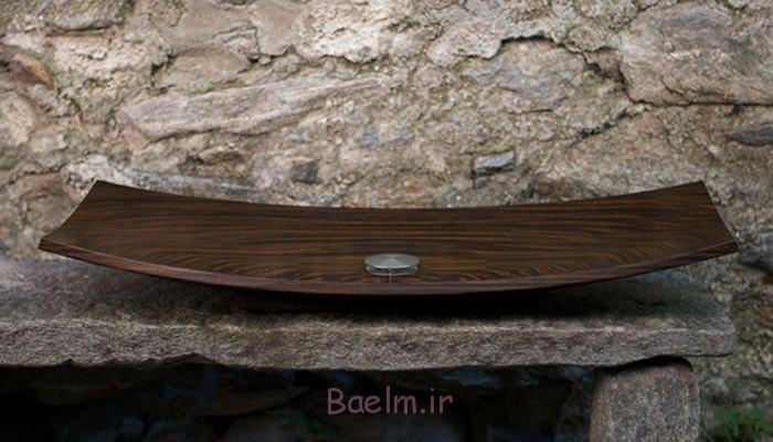 design waschbecken holz schalenförmig grobe maserung