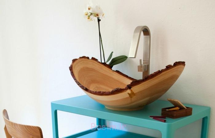 designer waschbecken holzschale slow wood