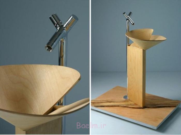 designer waschbecken konusförmig thermoholz corian metall aqua vita