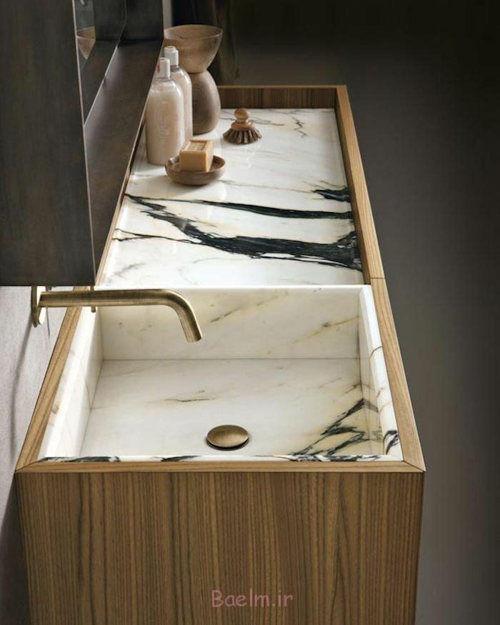 designer waschbecken marmor holzfurnier rechteckig messing armatur