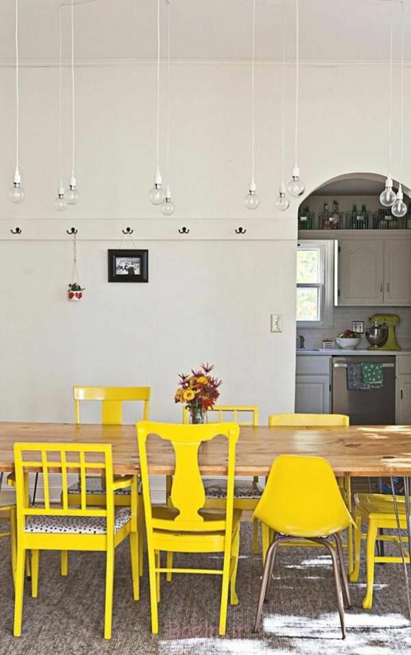 esszimmertisch mit stühlen holzesstisch esstischstühle gelb streichen pendelleuchten esszimmer