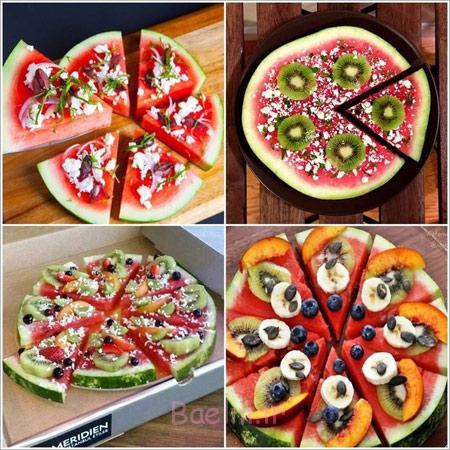 درست کردن پیتزا با هندوانه,تزیین هندوانه به شکل پیتزا