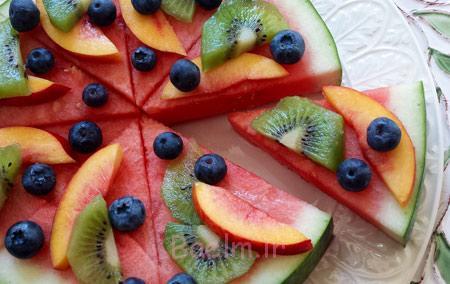 هندوانه به شکل پیتزا, میوه آرایی شب یلدا