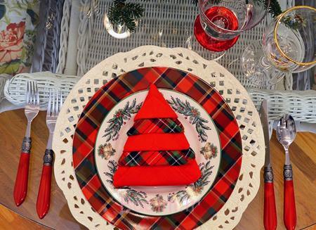 تزیین میز کریسمس,تزیین دستمال سفره های کریسمس