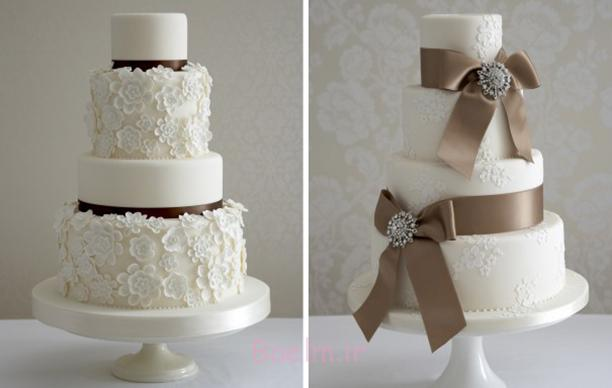 عکس های زیبا | مدل های جدید کیک عروسی چند طبقه با تزئینات شیک توری (سری 6)