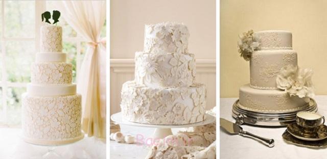 عکس های زیبا | مدل های جدید کیک عروسی چند طبقه با تزئینات شیک توری