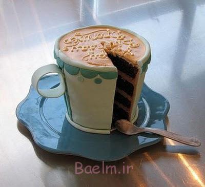 تولد کیک-جام از قهوه برش قطعه