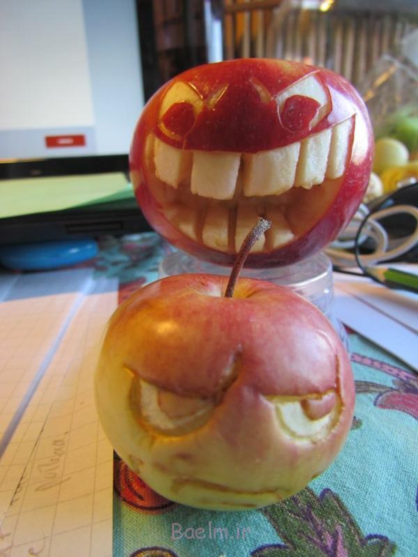 Obst dekorativ schnitzen apfel kunst böse