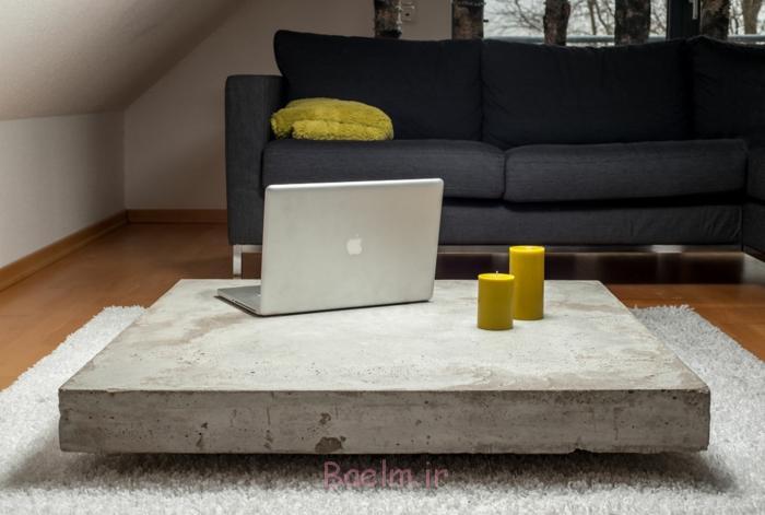 beton couchtisch dicke platte hochflor teppich