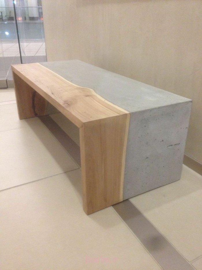 beton couchtisch holzteil schlichtes design