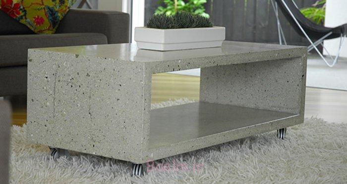 beton couchtisch rechteckig rollen stauraum