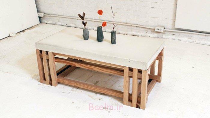 میز قهوه-سفید-صفحه-نور-چوب بتن پاها
