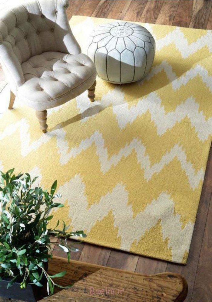 einrichtungstipps bodenbelag gelber teppich verlegen chevron muster