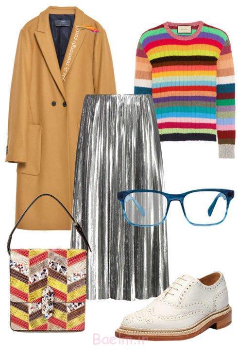ست کردن دامن نقره ای با لباس های رنگی