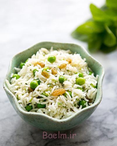 طرز تهیه سالاد برنج,درست کردن سالاد برنج و نخود فرنگی