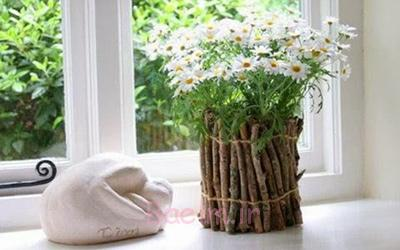 تزیین گلدان,تزیین گلدان با شاخه باریک