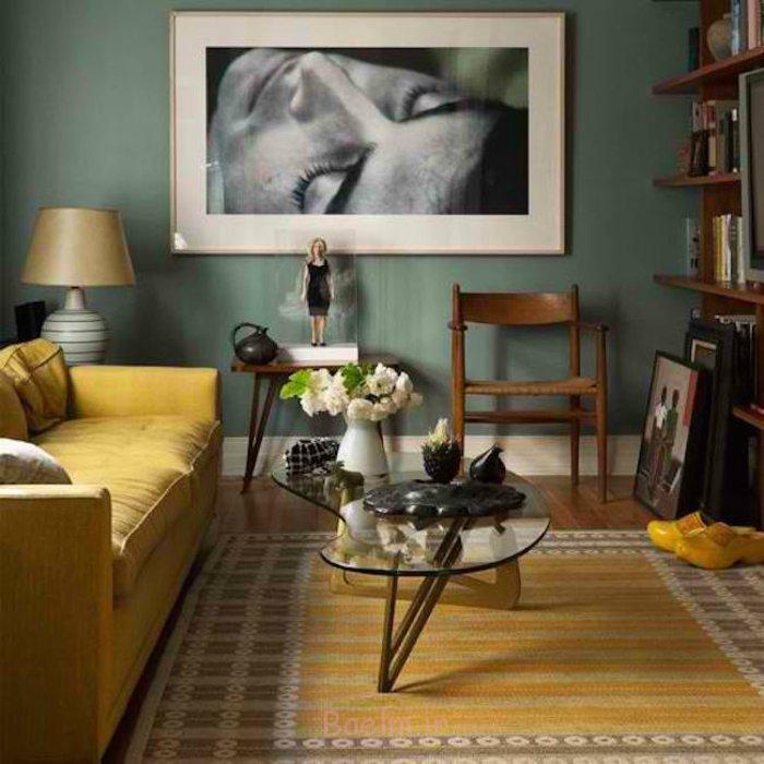 innendesign tipps bodenbelag gelber teppich wohnzimmer sofa